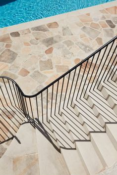 Luigi Roselli Architects, sandstone, contorted shape, designed by architects Simon Hassall and Sean Johnson Entry Stairs, Staircase Railings, Stair Handrail, Exterior Design, Interior And Exterior, Luigi, Types Of Stairs, Crazy Paving, Treads And Risers