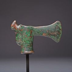 Ancient Near Eastern Luristan Bronze Ceremonial Axe With Ram Decoration - 1000BC