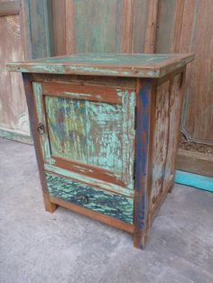 Balinese Hand Carved Recycled Boat Wood Bedside Cupboard Lamp Table Rustic