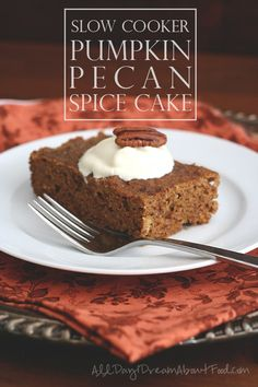 Delicious low carb pumpkin spice cake cooked in a slow cooker. Made with pecan meal for a wonderful fall treat.