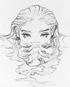 Pencil Sketch Drawing, Pencil Art Drawings, Drawing Base, Water Drawing, Drawing Tips, Tattoo Sketch Art, Water Sketch, Tattoo Drawings, Deep Drawing