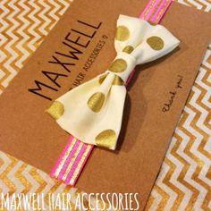 Pink/Gold Metallic Stripes with Metallic Polka Dot Bow
