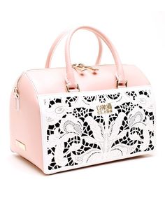 Look what I found on Cavalli Class Pink & White Bella Leather Satchel by Cavalli Class Barbie, Beautiful Handbags, Grab Bags, Couture, Leather Satchel, Pretty In Pink, Pink White, Purses And Bags, Ipad