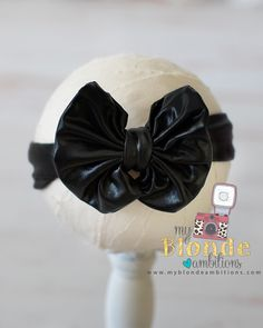 Black Metallic Floppy Bow Headband