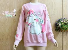 Sweatheart angel bunny – Oversized sweatshirt – kawaii cute bunny, pink long sweatshirt, fairy kei, – Clothes/Plushies/Etc. Pastel Goth Fashion, Kawaii Fashion, Cute Fashion, Fashion Outfits, Kawaii Dress, Kawaii Clothes, Mode Kawaii, Pastel Outfit, Kawaii Cute