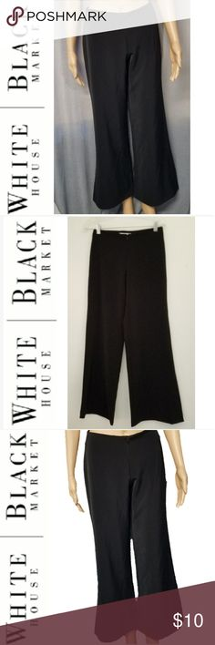 WHBM Black Flare Bottom Dress Slacks Great slacks for the professional woman. Zips up in the front with a wide flare leg bottom. Great used condition, no rips, tears, stains. Size: 2 94% Polyester, 4% Spandex White House Black Market Pants Boot Cut & Flare