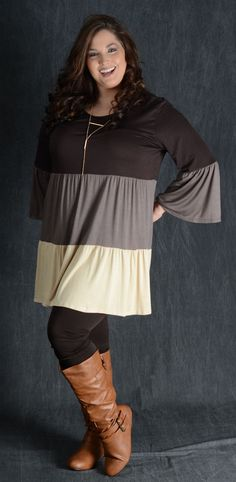 b0ea21eb79b3eb Brown Color Block Tunic Dress Modest Outfits