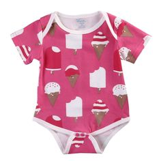 Newborn Baby Girls Boys Ice Cream Print Romper Short Sleeve Bodysuit Outfits 0-18M (3-6Months). Material: Cotton Blend,Comfortable and Breathable,Hand-wash and Machine washable, no shrinkage. Perfect for your baby in daily wear,baby shower,birthday,party,wedding and suitable to photograph. Cute ice cream print make your little princess so sweet,Bright colors and pattern make your baby more attractive. 4 sizes from 0-3months 3-6months 6-12months 12-18months for you choose. Package…