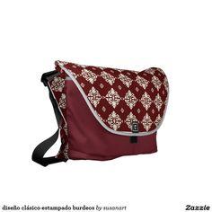 diseño clásico estampado burdeos bolsas messenger