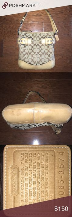 Authentic Coach Purse Authentic Coach Purse (E065-3574), minor stains on the bottom otherwise great condition, zipper pocket and two additional pockets on the inside, key hook on the inside, height- 11 inches, width- 10 1/2 inches, PRICE IS NEGOTIABLE Coach Bags Shoulder Bags