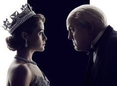 Claire Foy as Elizabeth II in netflix's The Crown, 2016. John Lithgow as Churchill