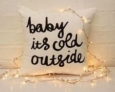 Baby It's Cold Outside Throw Pillow with Christmas Lights #holiday #home #decor
