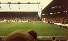 The Kop view from old Main Stand Liverpool Football Club, Liverpool Fc, Thing 1, Football Stadiums, Terraces, Good Old, English, History, Photos