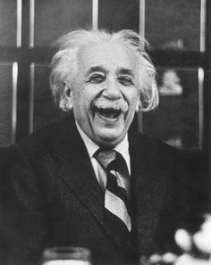 1953. Albert Einstein laughs at a luncheon, Princeton, New Jersey.  (Photo by Ruth Orkin/Hulton Archive/Getty Images)
