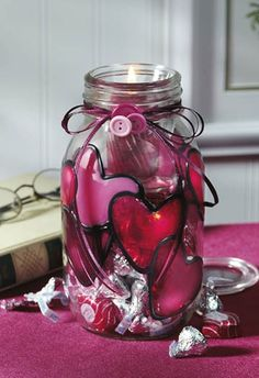 Valentine Candle Jar, Crafts 'n thingsCrafts 'n things,  2014 Valentine'sCandleJars, 2014 valentine's day ideas www.loveitsomuch.com