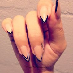 Nude nails with black tip outline @Skler Sullivan i like the ring finger with the double line.