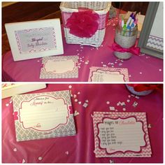 pinterest baby shower for girl pink and gray | wishes and prayers from guests - pink gray girl baby shower