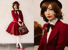"""I really hate using this kind of color combinantion in lolita (reminds me of color blocking), but I wanted to give this look a """"school uniform"""" feel using one predominant color."""