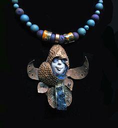 Monk Warrior, Twisted Copper Elements W/Blue Muffler & Titanium Agate: Purple, Electric Blue Druzy and Handmade Orange Enamel Copper Beads