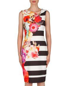 Joseph Ribkoff 181738 Floral & Stripe Dress $252