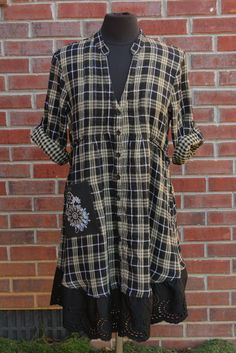 Tan, Black & Metallic Plaid Multi-Size Flannel and Eyelet Tunic Dress - Upcycled