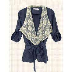 Lace Lapel Women Cotton Blends Dark Blue Middle sleeve Free Size... via Polyvore