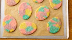 Inspired by swirly dyed Easter eggs, these colorful cookies are a fun recipe to make as a family.