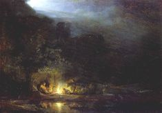 rembrandt landscape paintings | Rembrandt's Landscape with the Rest on the Flight into Egypt 1647 ...