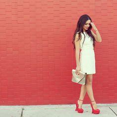 Shop this look on Kaleidoscope (dress, pumps, clutch)  http://kalei.do/WdWZ51NkgQ3VBc8H
