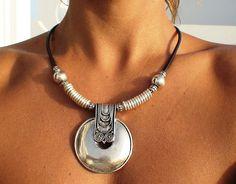 Tribal Necklace, Tribal Jewelry, Leather Necklace, Leather Jewelry, Boho Jewelry, Beaded Jewelry, Jewelery, Jewelry Accessories, Fine Jewelry