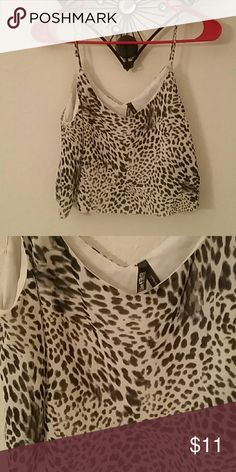 Leopard print chiffon crop top Size medium, Live 4 Truth cream and black leopard print crop top. Excellent condition. Tops Crop Tops