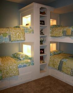 corner bunk room for 4...cool idea for Savannah, Tony and soon one more grandbaby to sleep and an extra bed for Kody to sleep in same room instead of alone in his room every time they are w/us