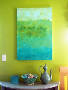 Original Hand Painted Art Canvas in aquas and greens Ombre style.