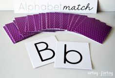 Alphabet Match game from Artsy Fartsy Mama. Match lowercase and uppercase letters together in a memory game. Free Printable download