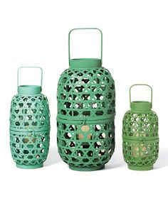 Take a look at this Green Cane-Croft Lantern Set by Foreside on #zulily today! $59 !!