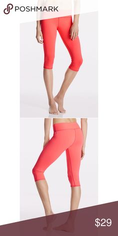 """Salara Crop The """"Salara"""" crop in """"Pop Coral"""" color by Fabletics has a 15 1/2"""" inseam and has been worn ONCE! Moisture-Wicking, Four-Way Stretch, Internal Waistband Pocket, UPF 50+. This color is truly VIBRANT! Size XS. Fabletics Pants Leggings"""