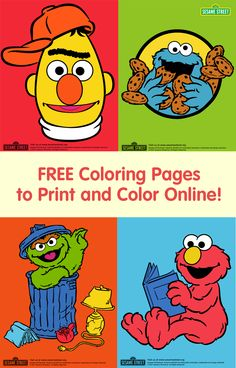Does your child love Bert, Cookie Monster, Oscar, Elmo, and the rest of the Sesame Street characters? Encourage your little one to color these FREE pages online: http://www.sesamestreet.org/games/art