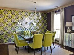 Go Graphic in Feeling Lucky?  Green Rooms We Love from HGTV--oooo these chairs are B-E-A-U-T-I-F-U-L=)