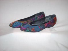 Vintage 1980s Flat Shoes Multicolored Splatter by OliviasButterfly, $12.00