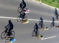 Cycling. Love this shot. I want to paint a whole peloton with shadows. Visit us @ http://www.wocycling.com/ for the best online cycling store.