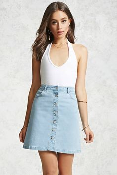 Product Name:Button-Down Denim Skirt, Category:CLEARANCE_ZERO, Price: $19.90