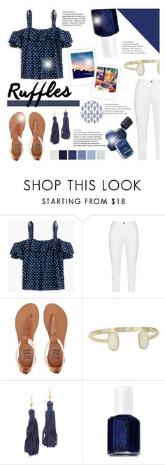 """""""Ruffled Tops"""" by littledesigns ❤ liked on Polyvore featuring J.Crew, Zhenzi, Billabong, Kendra Scott, Kenneth Jay Lane and Essie"""