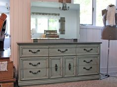 SOLD - Shabby Chic 9-Drawer Dresser/ Entertainment Console with Mirror