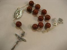 Car Rosary  With Miraculous Oval Rosary Center and by rockmybeads, $10.00
