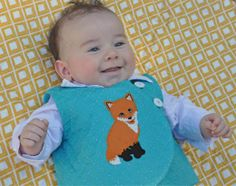 """Sashiko and hand embroidery! This Sashiko quilted voile baby boy vest is sporting a hand embroidery """"applique"""" design from the new Baby Fox hand embroidery designs by A Bit of Stitch. There's a machine embroidery version too :-)"""