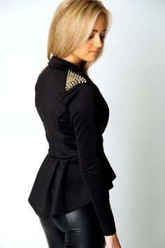 Francesca Stud Shoulder Peplum Blazer at boohoo.com