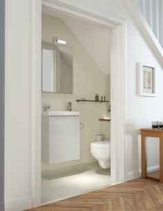 Kohler Bathrooms - great idea for an under stairs cloakroom Small Downstairs Toilet, Small Toilet Room, Downstairs Bathroom, Bathroom Layout, Bathroom Ideas, Basement Toilet, Cloakroom Ideas, Restroom Ideas, Bath Ideas