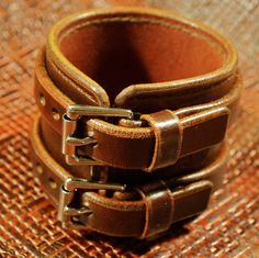 Brown Leather Wristband Double strap by MataraCustomLeather