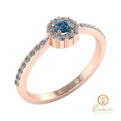 Inel anturaj din aur roz cu diamant albastru ES75 Aur, Promise Rings, Gold Rings, Sapphire, Rose Gold, Engagement Rings, Jewelry, Hipster Stuff, Women