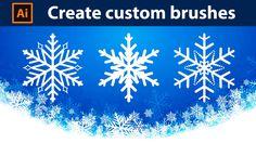 How to Create Custom Brushes - Snowflakes - Adobe Illustrator Tutorial - 06 Design Retro, Vintage Design, Graphic Design, Book Portfolio, Adobe Illustrator Tutorials, Drawing Tablet, Wacom Intuos, Good Tutorials, Wedding Tattoos